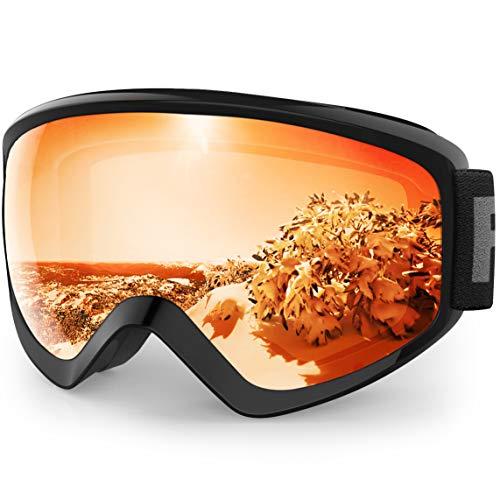 findway Skibrille Kinder, Snowboardbrille Helmkompatible Schneebrille Verspiegelt Snowboard Brille für Kinder Jungen Mädchen 8-14 Jahre OTG UV Schutz Anti- Nebel für Skifahren (Orange (VLT 55.76%))
