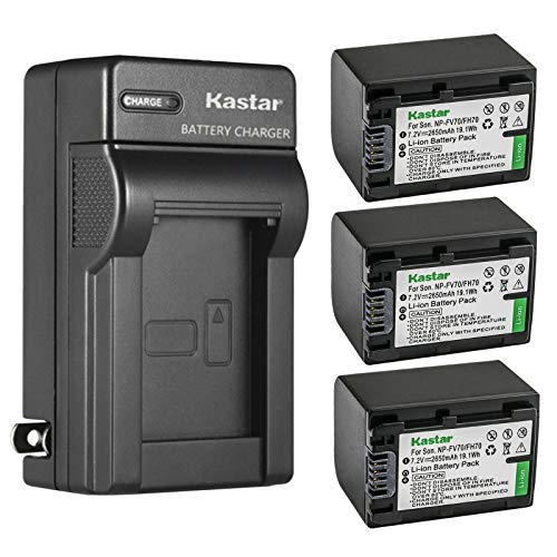 Kastar 3-Pack Battery and AC Wall Charger Replacement for Sony NP-FH30 NP-FH40 NP-FH50 NP-FH60 NP-FH70 NP-FH90 NP-FH100 Battery, Sony AC-VQH10 BC-TRV BC-VH1 Charger, Sony HDR-UX19, HDR-UX20 Camera