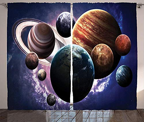 Waple Blackout curtains eyelet for living room Space curtain, planets of the solar system together in space Mercury Jupiter Earth Saturn universe 170*200cm 3D Blackout Curtains Ring Top Curtains Super
