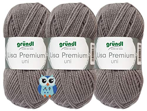 3x50 Gramm Gründl Lisa Premium Uni aus 100% Polyacryl Häkelgarn Schulgarn + 1 Eulen Knopf (24 Hellgrau)