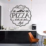 Vinilo adhesivo de pared de receta de pizza, estilo italiano, para decoración de pared