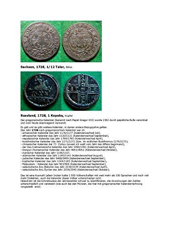 Kalenderblatt zum Jahr 1728: Zum gregorianischen Kalender und anderen Zeitrechnungen (Eine Kopeke Russlands und zwei Groschen Sachsens des Jahres 1728)