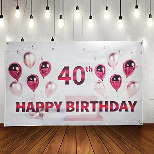 40 year old birthday banner background 6FT*3.6FT 40 year old lady happy birthday party decoration photography background 40 Bday background with balloon banner birthday gate garden wall decoration
