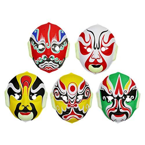 Amosfun Halloween Kinderen Masker Chinese Opera Masker Prestaties Props voor Party Cosplay Kostuum benodigdheden (Random Style) 5 stks Size 1 Picture 1