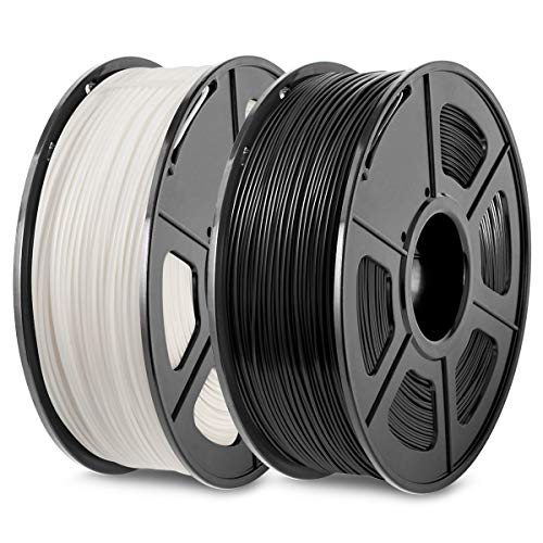 3D Printer PLA Filament 1.75, Black+White PLA Filament 1.75mm, Fit FDM 3D Printer, 1KG2 Spool, Dimensional Accuracy +/- 0.02 mm, PLA Black+White