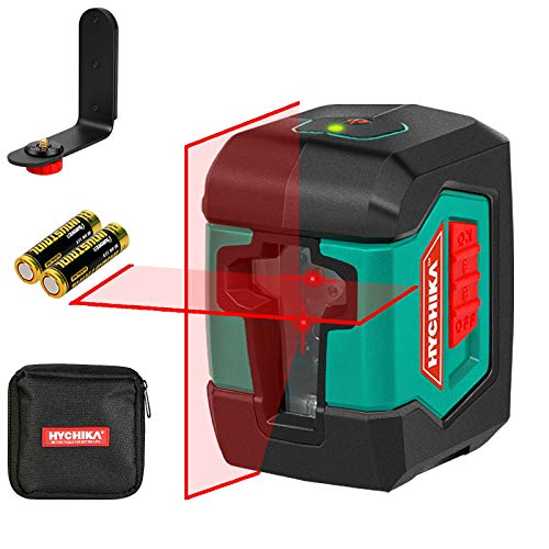 Laser Level HYCHIKA 50 Feet Cross Line Laser with Dual Modules Switchable SelfLeveling Vertical and Horizontal Line Construction Picture Hanging,Carrying Pouch Battery Included