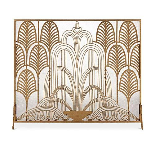 Fireplace Screens YXX- French Retro Single Panel with Mesh Decor, Wrought Iron Flat Spark Guard Safety Fence for Pets & Toddlers, Gold