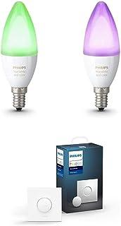 Philips Hue White and Color Ambiance Bombillas Led E14, 6.5 W, Pack de 2 + Interruptor Smart Button, Compatible con Blueto...