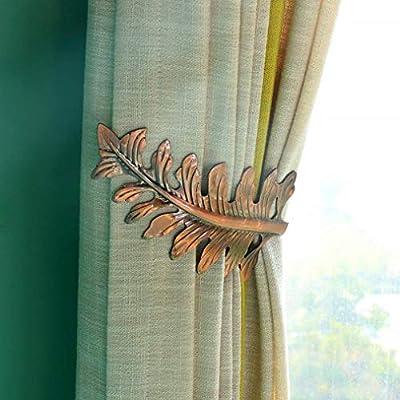 Bronze European Leaves Curtain Holdbacks Decorative Wall Hooks Hanger for Drapes Linen Holder Window Treatment Hardware,Set of 2