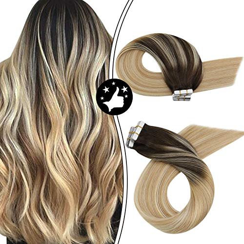 Moresoo Hair Extensions Tape in Real Human Hair 18 Inch Skin Weft Tape in Hair Extensions Color #2 Brown Fading to Blonde #27 Mixed #613 20pcs 50g Per Pack