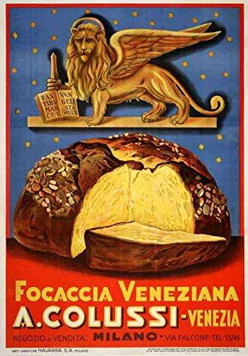 Metalen bord 1930 Brood Focaccia Veneziana Emka Venetië Italiaans Italië A4 12x8 Aluminium
