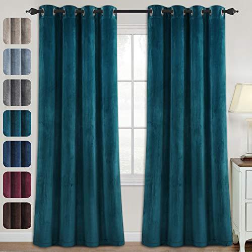 Blackout Curtains for Bedroom - Velvet Curtains 84 inch Length Super Soft Luxury Velvet Textured Drapes Thermal Insulated Grommet Panels for Living Room / Villa(2 Panels, 52 x 84 Inch, Teal)