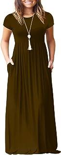 GULE GULE Women's Short Sleeve Round Neck Long Maxi Dress Brown Small