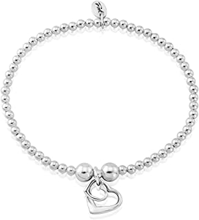 e1470863a Trink Brand Two-Hearts Sterling Silver Beaded Charm Bracelet