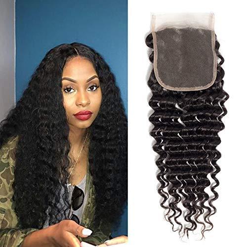 """BIPLE 4"""" X 4"""" Top Lace Closure Les cheveux mèches Bresilien Extensions de Cheveux Humains Noir Naturels 8"""""""