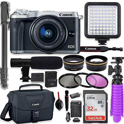 Lowest Prices! Canon EOS M6 Mirrorless Digital Camera with 15-45mm Lens (Silver) + Professional Video Kit with 32GB Memory, HD Filters, Monopod, Spider Tripod, Canon Gadget Bag & More.