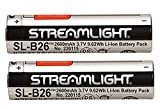 Streamlight 22104 SL-B26 USB Rechargable Lithium Ion Battery 3.7V 2600mAh for Streamlight X Series Dual Fuel Flashlights, 2-Pack