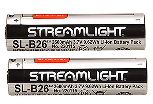 Streamlight 22104 SL-B26 USB Rechargeable Lithium Ion Battery 3.7V 2600mAh for Streamlight X Series Dual Fuel Flashlights, 2-Pack