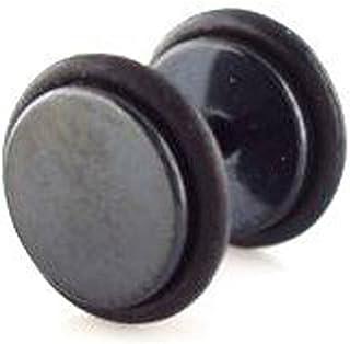 Pendientes falsos para hombre de acero quirúrgico, dilatación, diseño de anillo de goma,