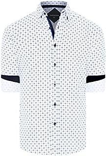 Tarocash Men's Powers Textured Geo Print Shirt Regular Fit Long Sleeve Sizes XS-5XL for Going Out Smart Occasionwear