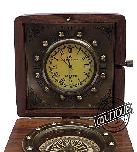 Reloj vintage de madera con brújula en caja de madera de rosa, mesa de escritorio, mesilla de noche, hombres y mujeres (regalos)