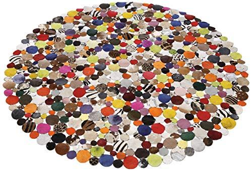 Kare Design Teppich Circle Multi , runder, gewebter Flickenteppich aus Kuhfell/Ziegenleder, weicher, bunter Lederteppich mit modernen Design Muster, Ø150cm