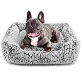 Hollypet Pet Bed, Self-Warming Bed for Cat and Small Medium-Sized Dog Puppy Rectangle Plush Sofa, Gray