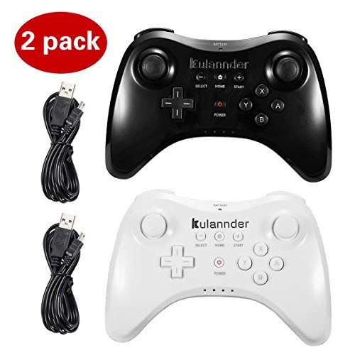 Wii U Pro Controller- Kulannder Wireless Rechargeable Bluetooth Dual Analog Controller Gamepad for Nintendo Wii U with USB Charging Cable (Black+White) 2Pack, for Kids