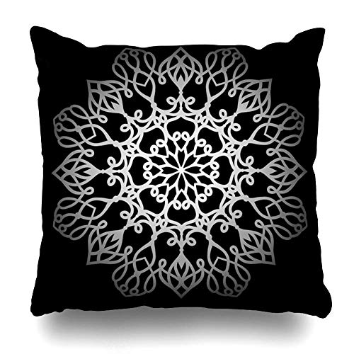 Funda de almohada de tiro Tamaño cuadrado Arabesco floral Patrón redondo plateado en abstracto indio asiático Círculo negro Color Cultura Diseño Funda de cojín Decoración para el hogar Diseño Funda de