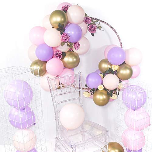 PartyWoo Luftballons Flieder Rosa, 60 Stück 12 Zoll Luftballon Flieder, Luftballon Pastell Lila, Luftballons Rosa, Ballons Pink, Ballons Metallic Gold für Partydeko Flieder Rosa, Prinzessinnen Party
