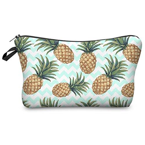 PREMYO Kosmetiktasche Klein für Handtasche - Schminktasche Damen Make Up Tasche - Federmappe Mädchen Etui Ananas