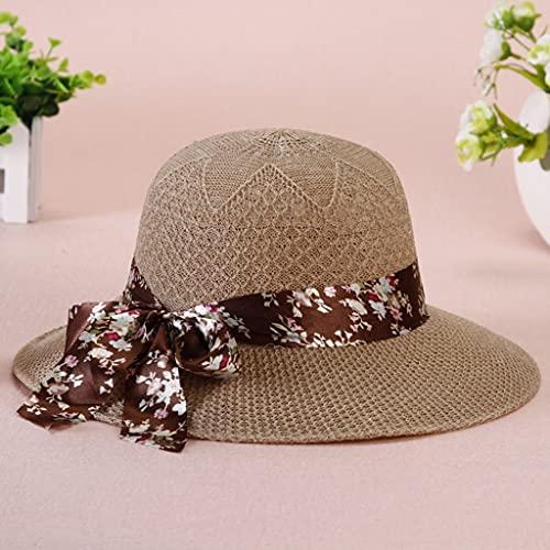 RYDQH Niñas de Verano Sombreros Sol de Ancho Blim Bowknot Sombrero de Paja con Cinta Protección Solar al Aire Libre Mujeres Gorras Gorras de señoras (Color : Khaki)