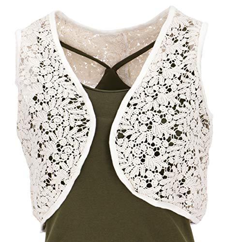 Guru-Shop, chaleco de encaje, chaleco corto boho, chaleco para mujer - blanquecino, algodón, tamaño: 14, chaquetas y chalecos