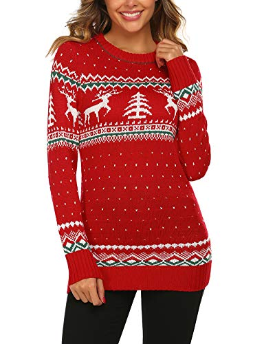UNibelle Women's Ugly Christmas Sweater Patterns Reindeer Pullover Jumper,S-XXL Red