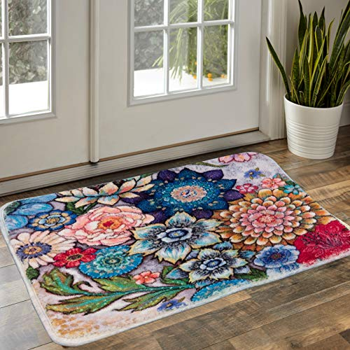 YoKii Boho Floral Throw Rugs 2x3 Small Area Rug Vintage Distressed Colorful Flowers Bouquet Faux Wool Shag Rug for Bedroom Dorm Bathroom Entryway Floor Carpet Kitchen Mat Non Slip (2x3, Colorful)