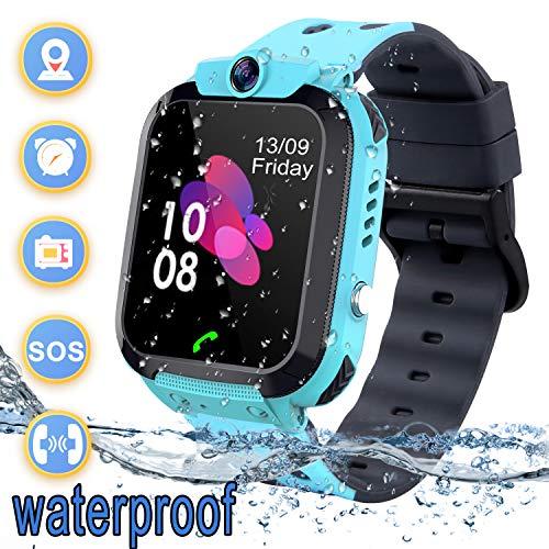 Smartwatch Kinder Wasserdicht Telefon Uhr für Kinder mit LBS Tracker SOS Voice Chat Kamera Spiel für Jungen und Mädchen Geburtstagsgeschenk (Blue)