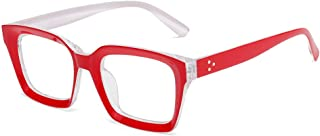 TT WARE Men Women HD Anti-Fatigue Square Frame Reading Glasses Casual Presbyopic Glasses-Red-3.0