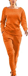 Womens Winter Fall Rib-Knit Pullover Sweater Top&Long Pants Set 2 Piece Outfits Tracksuit Clubwear Workwear