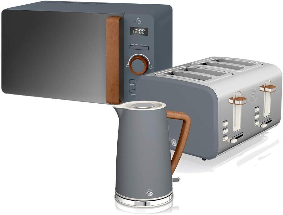 Swan Nordic Set Desayuno Hervidor de agua 1,7L 2200W, Tostadora Pan ranura ancha 4 rebanadas, Microondas 20L digital, diseño moderno, efecto madera, gris pizarra