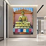 ganlanshu Sala de Estar decoración de Buda Moderno Impreso Abstracto Buda Pintura al óleo Lienzo Fondo Pared Imagen,Pintura sin Marco,60x90cm