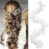Simsly - Haarschmuck, lange Haarreifen, Brautschmuck, mit Kristall-Haarreifen, für Braut und Brautjungfern (Silber), FS-167