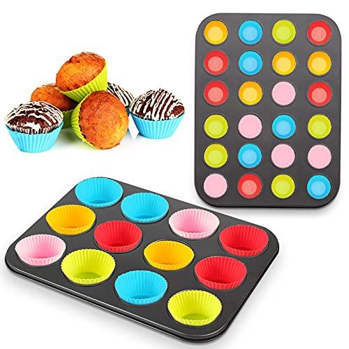 Teglia per Muffin,Stampo Muffin,Stampo da forno,Set di 2 Stampi per Muffin-12&24 Mini Muffin,in acciaio al carbonio con rivestimento antiaderente,per realizzare cupcake,muffin
