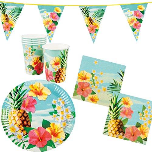 Karneval-Klamotten Party Set Hawaii Blume Hibiskus 25 Teile : Teller, Becher, Servietten, Wimpelkette