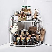 トライアングルスパイスはステンレス多機能ストレージラックが掛けることとフック、台所用箸ホルダー、バスルームで立つことができるラック,Kitchen double,large