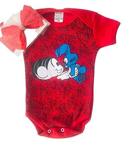 Body Bebê Temático Mesversário + Laço - MÔNICA Vermelho G