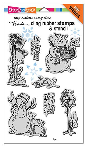 Stampendous Cling Stamp W/Template Set-Giving Snowmen