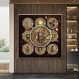 DFGRHG Gold Bitcoin Money Pintura en Lienzo Póster e Impresiones inspiradores Modernos Imágenes de Arte de Pared Sala de Estar Decoración de Oficina en casa-60x60cm (sin Marco)