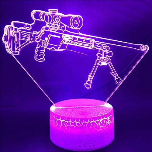 mhhmhh Bluetooth Base Model Sniper Rifle Best Gift for Boys Touch Sensor Atmosphere Bright Base LED Night Light Colorful