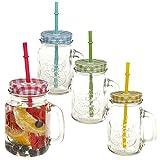 takestop Set 3 BARATTOLI Bicchieri Cannuccia con Manico Maniglia Coperchio Tazza Boccale Vetro Barattolo BARATTOLI Jar Colore Casuale