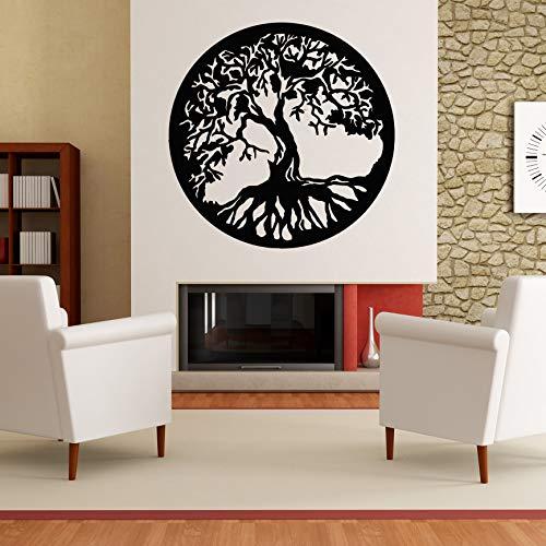 Baum des Lebens - Yggdrasil - Wandaufkleber Wandtattoo Tree of Life Sticker Aufkleber - erhältlich in vielen Farben (Schwarz, 80 x 80 cm)